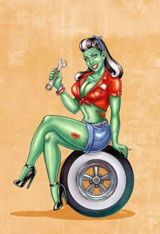 Zombie pin-up girl. I will have this one in my sleeve! <3