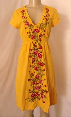 JOHNNY WAS S Dress Yellow Floral Embroidered V Neck Soft COTTON Cap Sleeve  #JohnnyWas #Shift #Casual