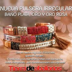 Te doy unas #‎ideas #‎diy para las nuevas #‎pulseras irregulares… Que te parecen❓#‎CreaTuPropiaBisuteria #‎bracelets #‎metalcomponents #‎findings #‎fornituras #‎abalorios #‎hazlotumismo #‎cordon #‎jewellery #‎joyeriaartesanal