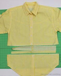 Nancy Zieman/Sewing With Nancy/Upcycled Shirts/Recycle Shirts   Nancy Zieman Blog Reuse Clothes, Diy Clothes Refashion, Shirt Refashion, Sewing Clothes, Men Clothes, Altered T Shirts, Recycled Shirts, Sewing With Nancy, Sewing Men