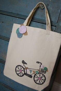 The Life of a Craft Crazed Mom: Vintage Bicycle Canvas Tote
