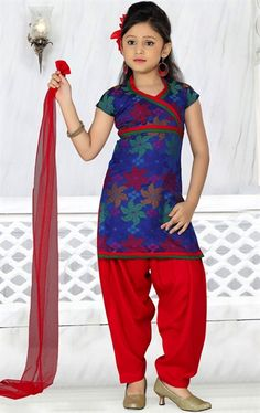Picture of Scintillating Blue Color Kids Patiala Kameez