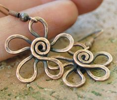 Copper Flower Earrings, Textured, Oxidized, Copper Wire, Wire Jewelry. $22.00…
