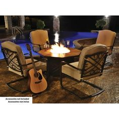 Revere Collection Outdoor Patio 5 Piece Fire Pit Set | Patio Sets |  Pinterest | Fire Pit Sets And Patios