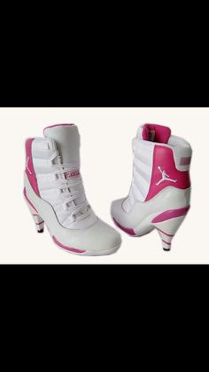 Pink and white Jordan heels