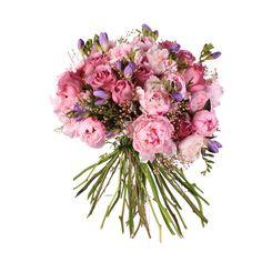 Ramo de novia romántico con peonias, rosas, freesias y flor de cera   Bourguignon Floristas #weddingbouquet #bridalbouquet #weddingflowers #novias
