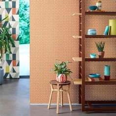 Forma Wallpaper from the Nuevo Collection by Scion and available from www.silkinteriors.com.au   Forma wallpaper from the Nuevo collection by Scion features a small, bold geometric wallpaper design with a retro vibe. This wallpaper will create texture on