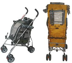 Stroller  Modified from baby stroller, the stroller frame is altered to fit the bird carrier. You can now strolling with your bird all the way to the airplane gate! $155 Celltei