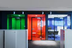 Glass tint (vinyl) for boardrooms + offices (pink and green)