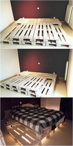 Unique wood Furniture Bed Frames creative and unique diy wood pallet projects Source by angelicameskhia Diy Wood Pallet, Wooden Pallet Projects, Wooden Diy, Wood Pallets, Outdoor Pallet, Recycled Pallets, Diy Projects, Bed Made Out Of Pallets, Blue Pallets