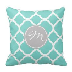 Classy Teal Blue Quarterfoil Pattern with monogram Throw Pillow