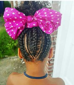 Love the alternating cornrows and the big bow! - @Beejoloves