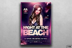 Night at the Beach Flyer Template V2 By Thats Design Store