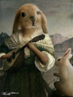 Rabbit Lady in Formal Dress. Love this minstrel rabbit! Lapin Art, Illustration Art, Illustrations, Rabbit Art, Bunny Art, Funny Bunnies, Animal Heads, Salvador Dali, Pics Art