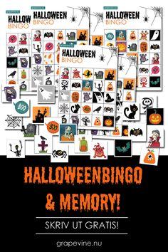 Halloweenbingo & Memory Last ned & skriv ut gratis! Vi gir bort det herlige Halloweenkitet! Bestill det som vanlig på grapevine.nu og skriv inn rabattkoden HALLOWEENGODT når du kommer til kassen (i feltet for rabattkode). Last ned og sett igang høstkosen! #bingo #halloween #memory #halloweenparty #halloween Bingo Halloween, Halloween Make, Halloween 2019, Paper Toys, Grape Vines, Diy And Crafts, Nye, Memories, Prints