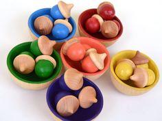 Wooden Acorns Montessori Waldorf Toy by BrightLifeToys on Etsy