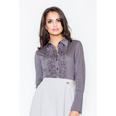 Grey Ruffle Button Up Shirt
