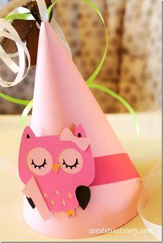 Owl birthday hat - too cute!