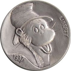 Derek Pegnall - Cat in the Hat Hobo Nickel, Great Life, Cactus, Coins, Auction, Carving, Animation, Hat, Cartoon