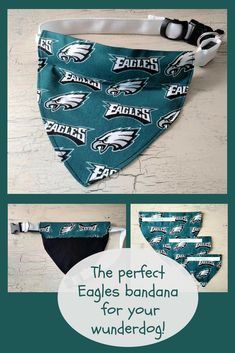 Dog-Cat Collar Bandana-NFL-Philadelphia Eagles Football Team-FAN-Pet Scarf-Pet Accessories-REVERSIBLE-2-Sided-Over the Collar-Size Xs-Sm-Med #eagles #wunderdog #affiliatelink #superbowl #pets