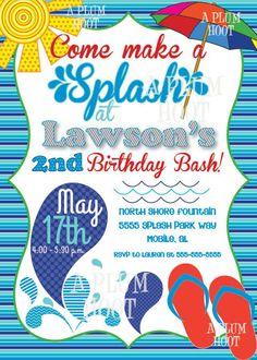 Pool Party Splash Pad Birthday Party Invitation by APlumHoot