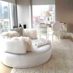 I want this round chair sooo bad!- in the bedroom #white #homedecor