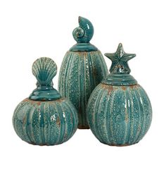 New!  Love this whole set - sea urchin like bottoms with shell lids in distressed turquoise