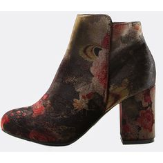 SheIn(sheinside) Multi-Patterned Ankle Booties BLACK MULTI (13.715 HUF) ❤ liked on Polyvore featuring shoes, boots, ankle booties, black, chunky black booties, mid-heel boots, mid heel booties, floral-print boots and black boots