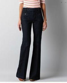 Ann Taylor LOFT Curvy Flare Jeans Pants Sz 4 P