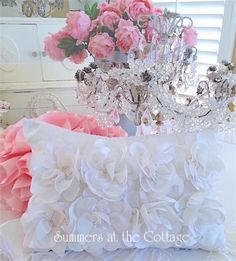 Magnolia Rose satin ruffled flowers accent pillow with a whimsical elegant cottage look for any home. Rose Cottage, Shabby Chic Cottage, Shabby Chic Homes, White Wicker Chair, Savannah Rose, Painted Cottage, Chic Bedding, Satin Flowers, How To Make Pillows