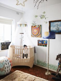 Baby Banjo loves his room! Leander cot, alpaca rug from Queen Victoria markets, vintage ghetto blaster, anti bad vibe shield by Ozzie Wrong...