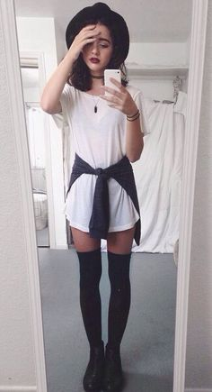 white tee dress, pullover, black thigh high socks, black booties, black floppy hat