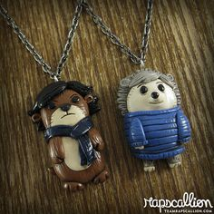 Sherlock and Watson Otter & Hedgehog Best friend necklace by rapscalliondesign, $45.00
