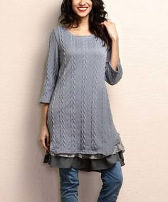 9c69000b8 Look what I found on  zulily! Gray Cable-Knit Lace-Trim Dress