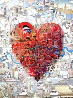 "london map collage illustration. what gets me is that it looks like this piece was handmade, but it is digital art! (""Made with custom developed scripts, hacks and lots of love, using a Mac, Studio Artist, the Adobe Creative Suite ..."")"