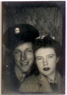 ** Vintage Photo Booth Picture **   Soldier and his gal