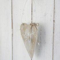 """Wooden Polka Dot """"love"""" Hanging Heart-Natural"""