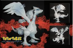Paperpokés - Pokémon Papercrafts: RESHIRAM *trying to calm down from being over exited at how amazing this is* reshiram, Pokemon paper craft,  Reshiram papercraft for kids, reshiram papercraft, cool, awesome, cute