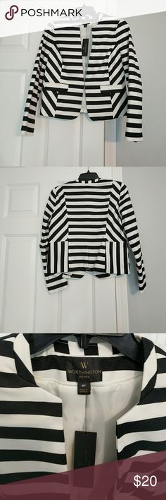 Striped blazer Brand new black and white striped blazer Worthington Jackets & Coats Blazers