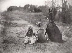 Vintage Photograph of a girl with her dog and donkey