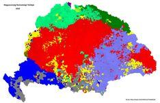 Ethnic map of Hungary 1910 (no labels) Century, Europe, Hungary) Alternate History, Old Maps, Country Art, Folk Music, Historical Maps, Ethnic, Language, Family History, Romania