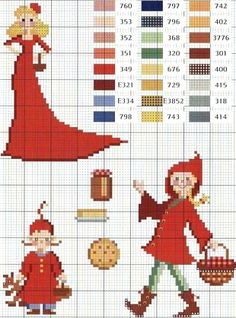 Little Red Riding Hood cross stitch chart