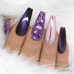 "4,820 Likes, 15 Comments - TheGlitterNail Get inspired! (@theglitternail) on Instagram: ""✨ REPOST - - • - - Purple Coffin Nails with Glitter and Crystals ✨ - - • - - Picture and Nail…"""