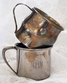 silver baby cups with names and dates