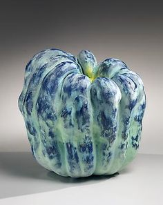 Asymmetrical yellow and blue pumpkin form, 2013 Multi-fired and sanded glazed stoneware 11 7/8 x 12 5/8 x 11 7/8 in. Inv# 8141 SOLD Image