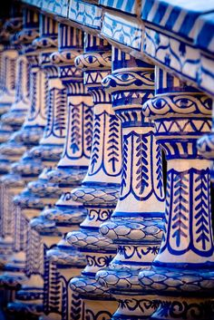 Ornate railings at the Plaza de Espana, Seville, Spain