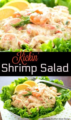 When quick meals and snacking are in order, this Kickin' Shrimp Salad made with seasoned shrimp tossed in a creamy dill dressing is just the ticket. Shrimp Salad Recipes, Seafood Appetizers, Seafood Salad, Healthy Salad Recipes, Seafood Dishes, Seafood Recipes, Cooking Recipes, Appetizer Recipes, Shrimp Salads