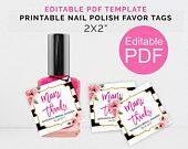 Personalized Mani Thanks Tags, Printable Kate Shower Nail Polish Favor Tags, DIY Tags Template, Bachelorette Party Tags, Nail Polish Tags