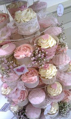 shabby chic weddings | vintage shabby chic wedding cupcake tower 2