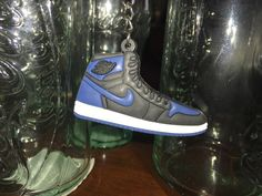 Jordan 1 blue and black keychain  AJ1 blue and by Metrosomething